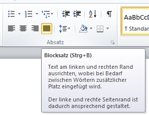 Blocksatz in Excel