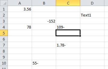 Excel Minuszeichen von rechts nach links
