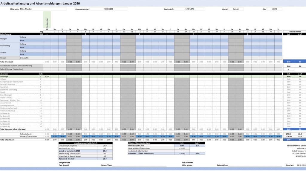 Gratis Arbeitszeiterfassung Aktualisiert Fur 2021 Excelnova