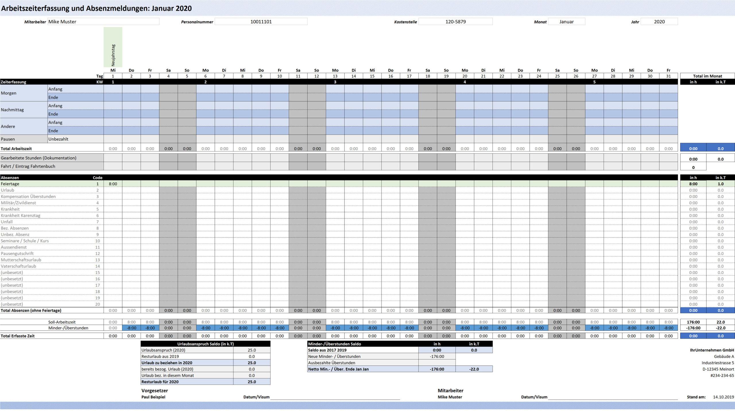 Zeiterfassung Excel Vorlage 2020 Download