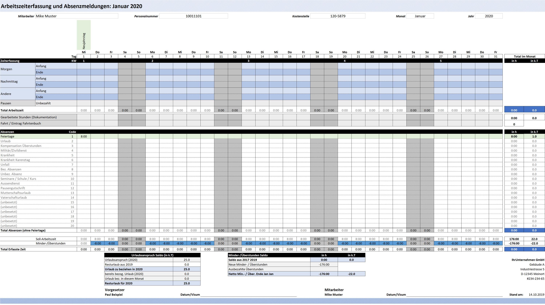 Excel Arbeitszeiterfassung und Absenzerfassung Vorlage