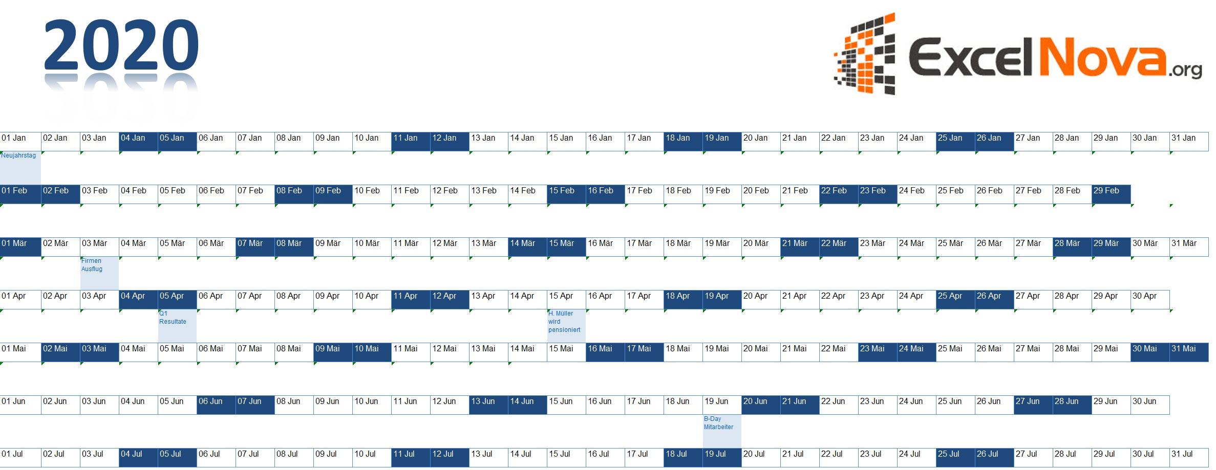 Jahreskalender Excel